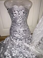 "3 Mtr Blanco festoneado Bridal embroidered lace neto Tela... 52 ""de ancho £ 26,99"