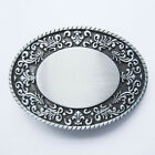 Western Flower Trims Oval Blank Belt Buckle Gürtelschnalle Boucle de ceinture