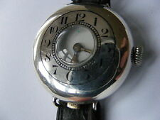 BEAUTIFUL AND RARE SILVER HUNTER TRENCH WATCH c1914-18 PERFECT WORKING ORDER