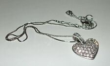 """Swan Silver Auth Swarovski Crystal Pave Puffy Heart Pendant Chain Necklace 18"""""""