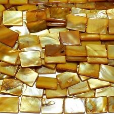 MP2271L Yellow Gold 20x15mm Flat Rectangle Mother of Pearl Shell Beads 15""