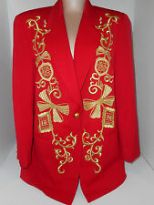 Womens Blazer Medium Jacket Adam Douglass Adrianna Papell Red Embroldered Gold