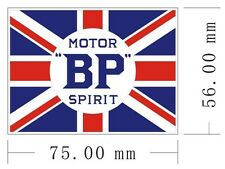 Pair of 2 BP Motor Spirit (Union Flag lscape) peel-off vinyl stickers/decal (ff)