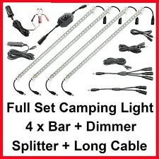 4 Bar 12V Connectable LED Camping Kit RV Trailer Boat Cabinet Strip Lights Bag