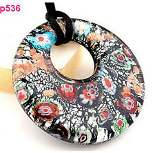 black circularity handmade Murano Lampwork Glass beaded Pendant Necklace p536 EY