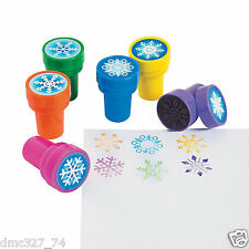 12 CHRISTMAS or FROZEN Party Favors Mini SNOWFLAKE Snowflakes STAMPERS Stamps