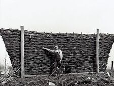 1939 Original Photo by TRESTAIN basket maker shows basket used for corn crib
