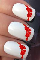 WATER NAIL TRANSFERS RED RIBBON BOWS FRENCH TIPS TATTOO DECALS STICKERS *621
