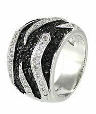Zebra Strips Sterling Silver Ring Pave Clear and Black Cubic Zirconia