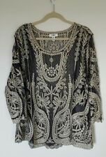CATO WOMAN Plus Size 22/24 Black & Gold Embroidered Blouse Sheer Glamour shimmer