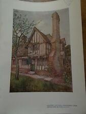 Arts & Crafts 1907 Architectural Architecture print LANGTREE COTTAGES CHECKENDEN