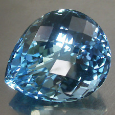 Huge! 47.65Cts. Twinkling Top Blue 100%Natural Topaz P/s Checker Board Good Cut