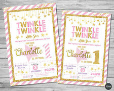 TWINKLE LITTLE STAR INVITATION INVITE 1ST FIRST BIRTHDAY PARTY CARD PINK GOLD