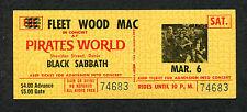 1971 Fleetwood Mac Black Sabbath unused full concert ticket Paranoid Tour Dania