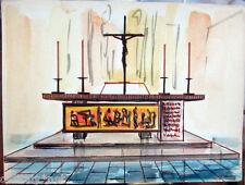 Acquerello '900 su carta Watercolor Architettura futurista cubista razionale-101