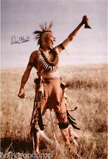 WES STUDI SIGNED DANCES WITH WOLVES PAWNEE INDIAN PHOTO POSTER AUTOGRAPH w/ COA