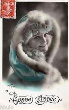 BE203 Carte Photo vintage card RPPC Femme woman Bonne année Walery Paris