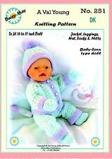 DOLLS KNITTING PATTERN no. 251 for BABYBORN or similar doll.by Val Young.