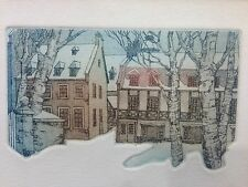 Vintage Etching Winter Scene Signed Limited Edition Unidentified Artist