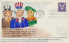 """#905 ON WEIGAND ARTIST FDC HANDPAINTED """"WIN THE WAR"""" CACHET BS2913"""