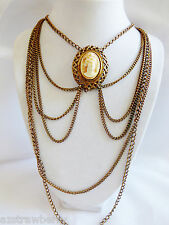 VTG Gold tone metal chain Cameo pendant Cascade Necklace