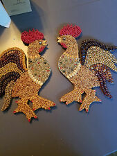 vintage roosters seed wall art set, two roosters and an ear of corn country kitc