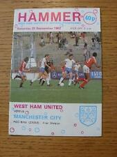 25/09/1982 West Ham United v Manchester City  (Faint Crease). No obvious faults,