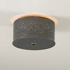 Irvin's Tinware Round Ceiling Light With Chisel Design - Primitive Light - New!