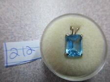BEAUTIFUL BLUE SWISS TOPAZ EMERALD 9X7MM STERLING SILVER PENDENT ONLY GORGEOUS