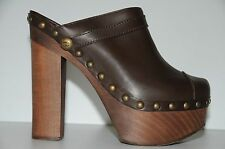 NEW AUTHENTIC CHANEL Brown Leather Platform CLOGS CLOG Mule SHOES HEELS 40