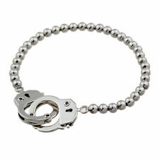 Alloy Handcuffs Plated Elastic Bracelet Silver Plated Charm Bead Bangle Jewelry