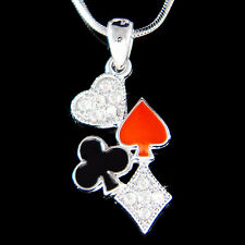 w Swarovski Crystal Playing Card Games Casino Blackjack Poker Solitaire Necklace