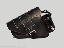 Black Leather Maltese Cross Single Pannier Saddle Bag Harley Davidson Sportster