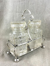 Antique Pickle Jar Cruet Silver Plate & Cut Glass Crystal Condiment Bottle Stand