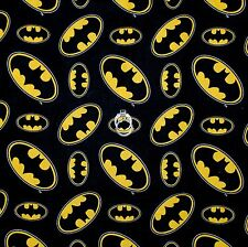 BonEful Fabric FQ Cotton Quilt Black B&W Yellow Batman LOGO Super Hero Comic Boy