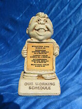 1973 Paula Figurine Our Working Schedule W330 Gag Gift Man With Sign Novelty