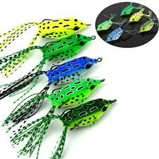 5PCS/Set Soft Plastic Hollow Fishing Lure Crankbait Hooks Bass Bait Frog 5.5cm