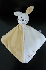 58 / DOUDOU SUCRE D'ORGE LAPIN MOITIE JAUNE /  BLANC -  NEUF *