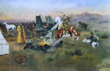 "Charles Russell print ""Cowboy and Bucking Horse in Camp"""