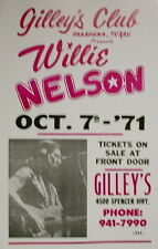 """Willie Nelson Concert Poster - 1971 - Gilley's Club - Pasadena, TX - 14""""x22"""""""