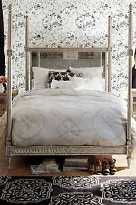 NIP $328 Anthropologie Arusha Hand-embroidered cotton Duvet Queen in Light Grey