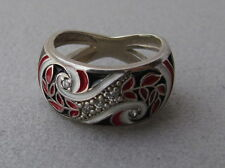 Trypillian Sterling Silver Ring, White & Red & Black Enamel, CZ Size 6