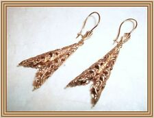 Vintage 1950s - English 9ct Gold VICTORIAN STYLE FILIGREE PENDANT EARRINGS NR