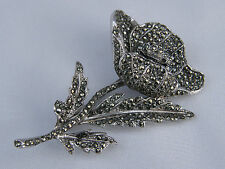 BEAUTIFUL SPARKLING MARCASITE FLOWER AND PETAL BROOCH