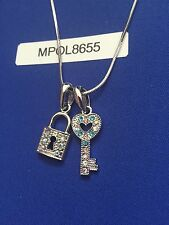 Christmas Gift Crystal Heart Lock and Key Pendant Necklace