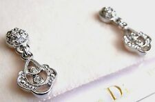 Christian Dior Rhodium Plated Crystal Post Earrings New