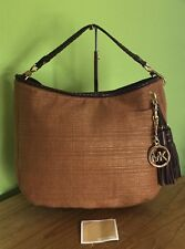 Michael Kors Bennet Brown Straw With Leather Trim Hobo Bag