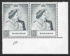 Bahamas 1948 Silver Wedding £1 Slate-Green SG 195 MNH Pair with Plate Number