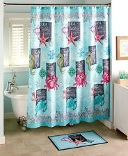 Nautical Sealife Ship Wheel Shower Curtain Crab Seahorse Anchor Beach Bath Set