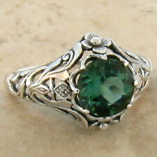 GREEN SIM EMERALD .925 STERLING ANTIQUE NOUVEAU STYLE SILVER RING Sz 10, #757